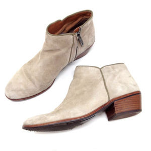 Sam Edelman Petty Beige Suede Heeled Ankle Boots